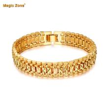 Male Bracelet Women Jewelry 12MM Pulseira Masculine Trendy Gold Color Chunky Chain Link Bracelet Wholesale Bileklik For Man P166(China)