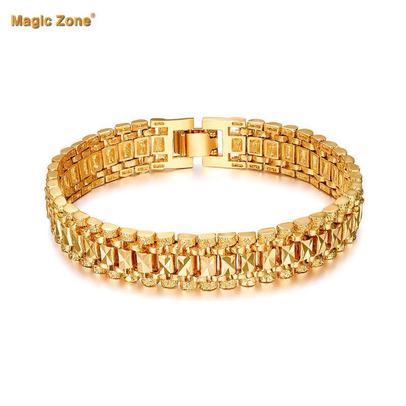 Male Bracelet Women Jewelry 12MM Pulseira Masculine Trendy Gold Color Chunky Chain Link Bracelet Wholesale Bileklik For Man P166