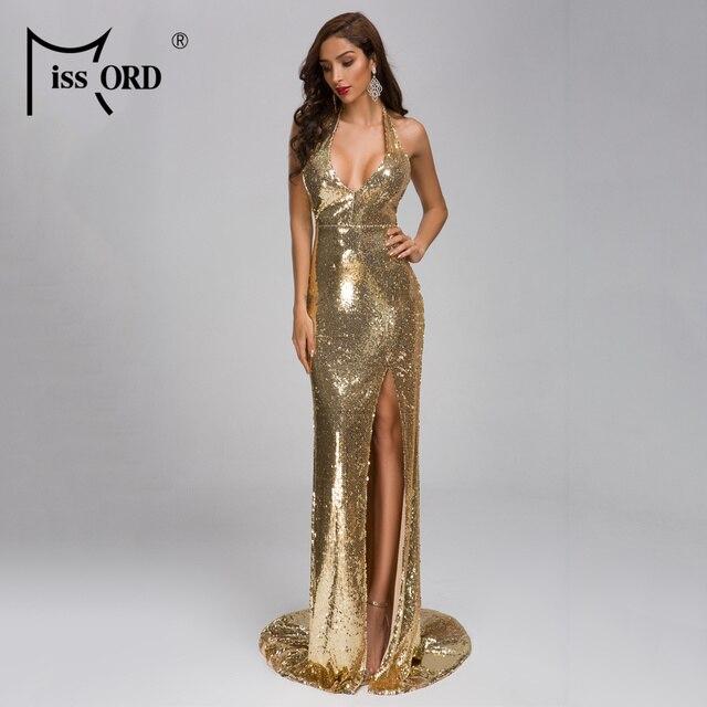a28799084925b Missord 2019 Sexy V profunda de hombro sin espalda Vestidos de lentejuelas  de Split Maxi vestido elegante Vestidos de FT19281