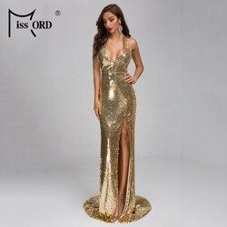 Missord 2020 сексуальное платье с глубоким v-образным вырезом и открытой спиной, женское платье с блестками и разрезом, элегантное платье макси, ...