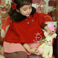 Red Coat Turn Down Collar For Girls Solid Cute Fashion Jacket Full Lolita Style Children Casual