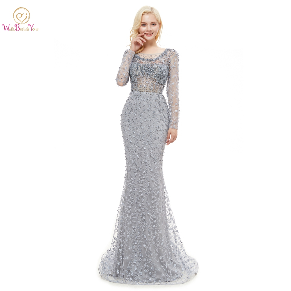 Prom     Dresses   2019 Gray Lace Pearl Crystal Mermaid Long Sleeves See Through Evening Party Gown Backless High School Graduation