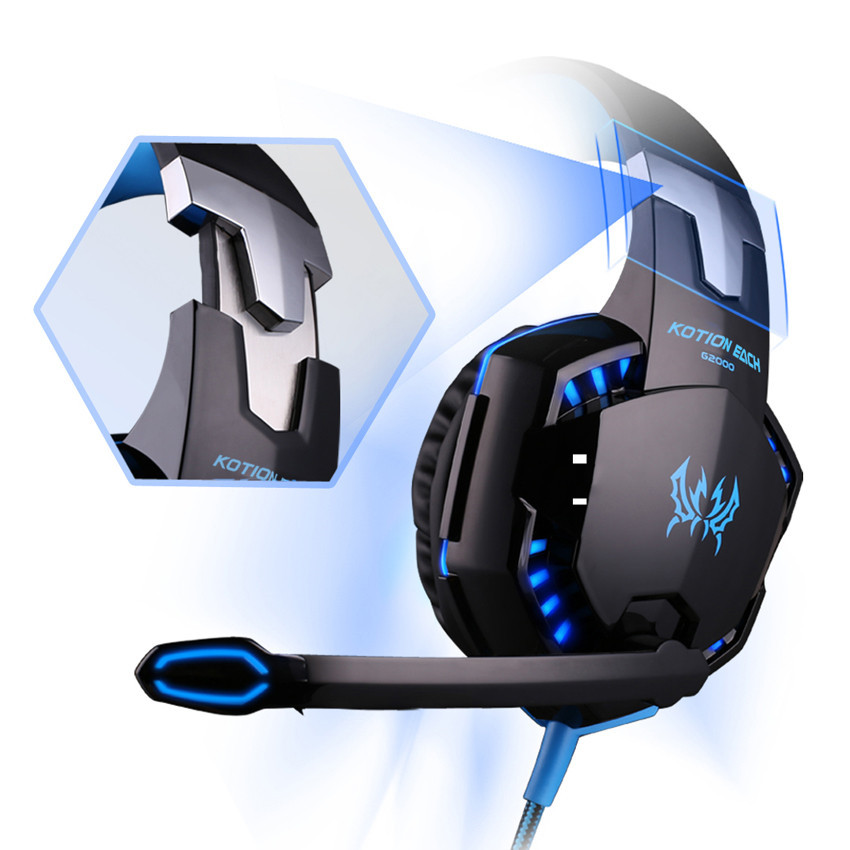 KOTION EACH G2000 casque Gaming Headphones Best PC Gamer Stereo Headset with Microphone LED Lights for Computer/Notebook Laptop
