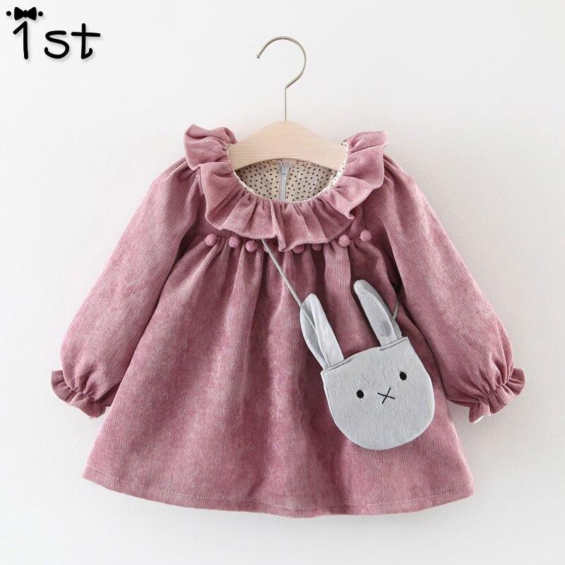1st Baby Mädchen Kleider 2018 Herbst Lange ärmeln Lotus Blatt Kragen Tasche Puppe Kleid + Tasche 2 Stück Mädchen baby kleid kinder der k1
