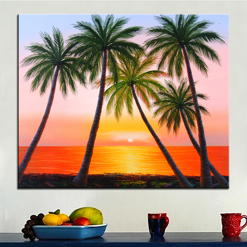 Extra Large Wall Painting Of Sunset Beach Home Office