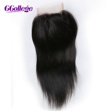 CCollege Hair Brazilian Virgin Hair Straight Closure 4*4 Free Part Lace Closure 8-20inch 100% Bleached Knots Human Hair Closure