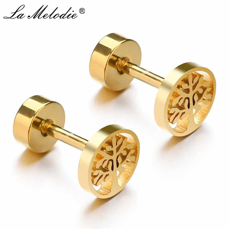 New Tree of Life Stainless Steel Stud Earrings for Men Women Asymmetrical Pierced Earrings Body Jewelry Prevent Allergy Earrings