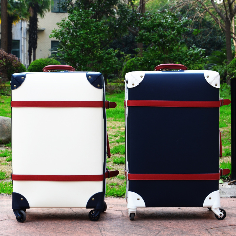 19/23/27 inches retro luggage pull rod box universal wheel board box wear waterproof lockbox