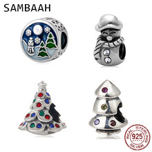 Sambaah Christmas Tree Charm 925 Sterling Silver Xmas Tree Snowman Beads for Original Pandora Style Christmas Gifts Bracelet цена