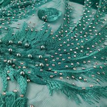 6cb57ba4086e 2018 green french lace embroidered tulle lace with heavy stones and beaded  nigerian Guipure lace fabrics