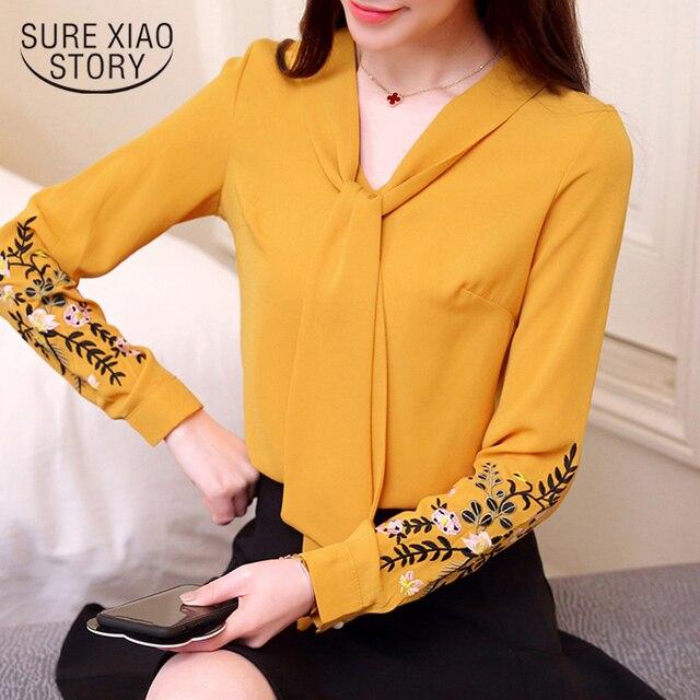12ee96907 2018 nova primavera bordado camisas roupas femininas blusas moda floral  senhora do escritório de manga longa mulheres tops D559 30