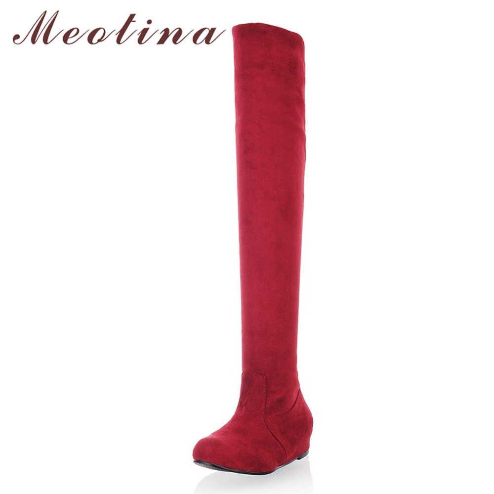 Meotina/высокие сапоги до бедра; женская обувь; Зимние Сапоги выше колена, увеличивающие рост; пикантные эластичные высокие сапоги; женская обувь; большие размеры 4-12