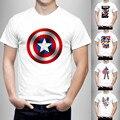 Новые моды 2016 Капитан Америка Футболка Мужчины Футболка характер Хип-Хоп Смешные Одежда Мужская Топ Хлопок Тройник 21 цвета