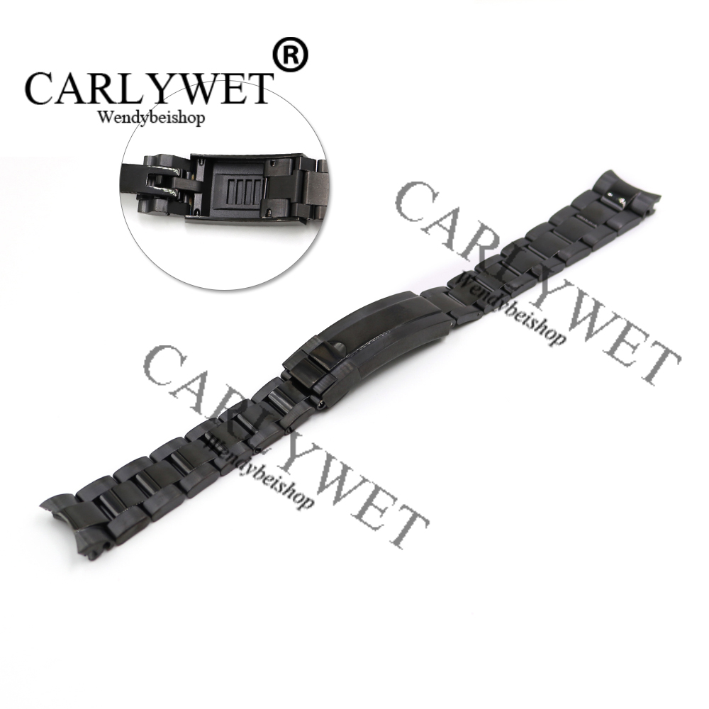 CARLYWET 20mm Black Stainless Steel Solid Curved End Screw Links New Style Glide Lock Clasp Steel Watch Band Bracelet 20 21mm solid curved end stainless steel screw links wrist watch band bracelet strap glide flip lock deployment clasp buckle
