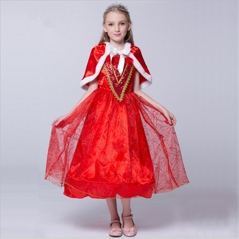2018New high quality Girls Little Red Riding Hood Dress Halloween with Double Red Cloak Christmas princess cosplay party costume