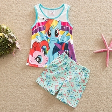 summer clothes 2016 My litter pony pattern printed cotton short baby suit set clothes for girls sleeveless vest&pants TZ19001