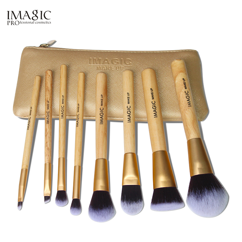IMAGIC  Make Up Brushes 8 pcs Brush Set  Kit Professional Nature  Brushes Beauty Essentials Makeup Brushes With Bag temptalia make up brushes 8pcs brush set professional nature bristle brushes beauty essentials makeup brushes copper top quali