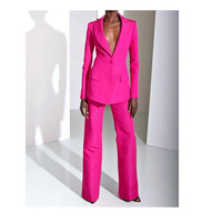 Customized new red fashion women's suit two piece suit (jacket + pants) ladies pink single buckle casual business formal suit