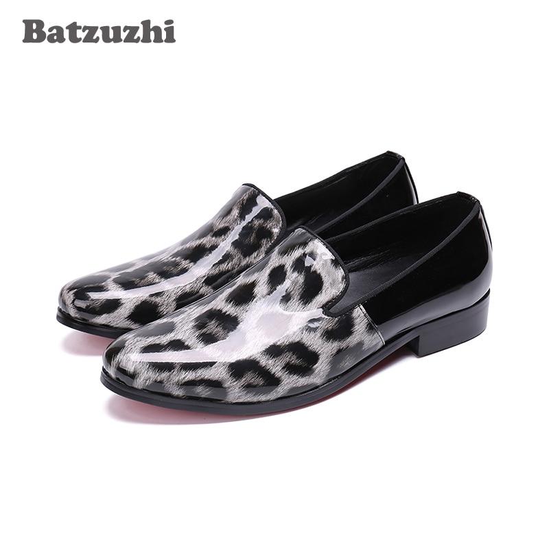 Batzuzhi Italian Handmade Men Shoes Fashion Flat Loafers Casual Leather Shoes Men Party and Wedding zapatos de hombre, Size US12 fashion tassels ornament leopard pattern flat shoes loafers shoes black leopard pair size 38