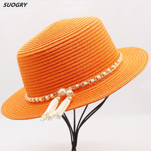 SUOGRY 2018 Summer Ladies Fedoras Straw Hat Panama Fedora Jazz Women Wedding Hats Trilby Boater Chapeu Sombreros Church