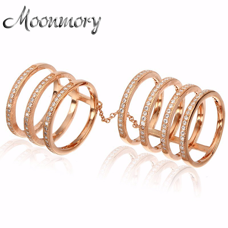 Moonmory Double-Rings Zircon Romantic Fashion Jewelry Rose-Color Classic Wedding 925-Sterling-Silver
