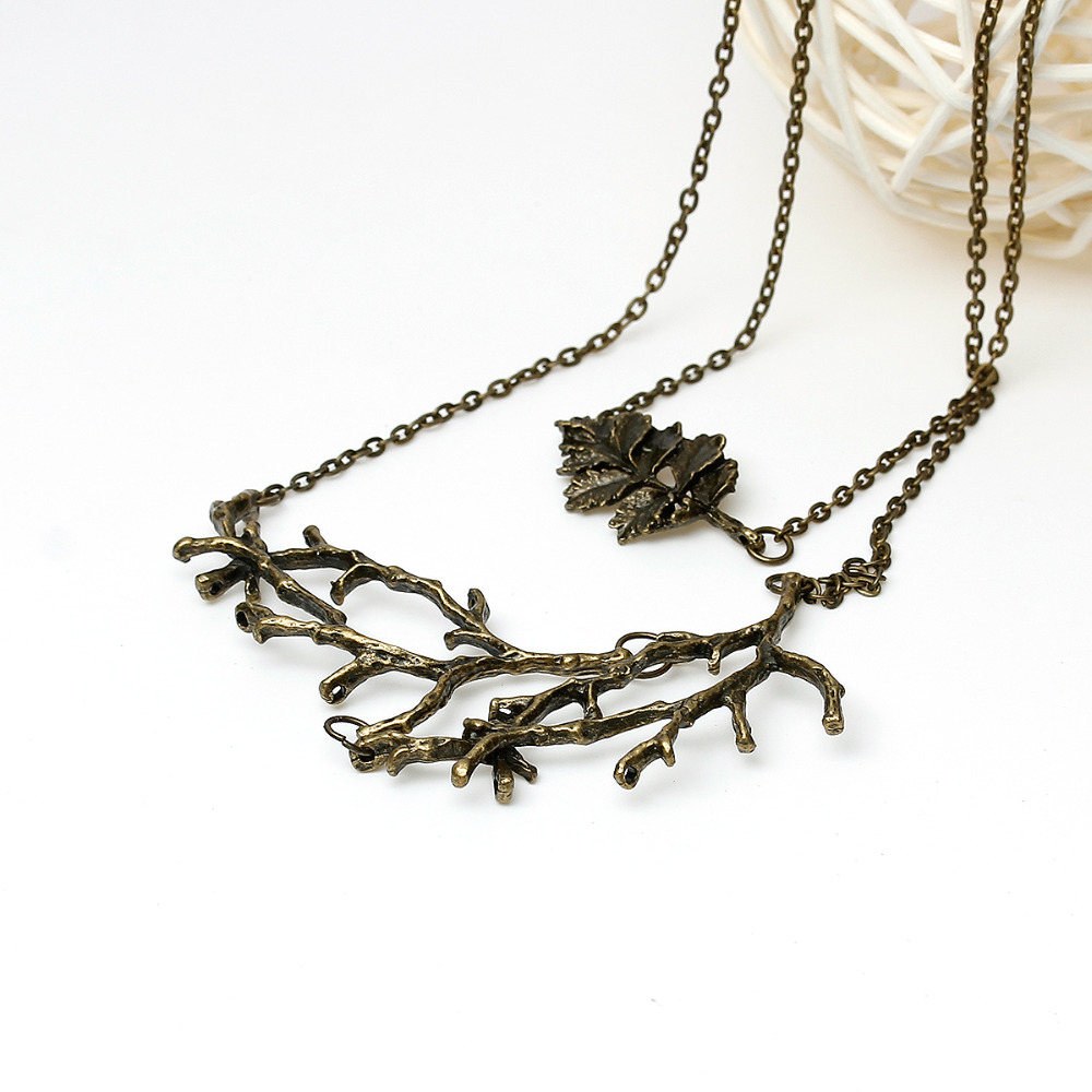 Doreen Box Handmade autumn Vintage Leaf Branch Necklace long woman antique bronze chain charm necklace Jewelry Christmas gift