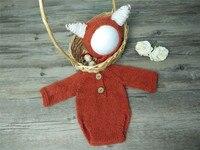 手作りモヘアキツネロンパースボディスーツ、子供ギフト、新生児写真の小道具