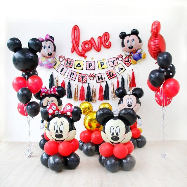 """20 sztuk/zestaw Mickey Minnie Head 30 """"czerwona liczba z balonów foliowych 1. Dekoracje na imprezę urodzinową dla dzieci zabawki Baby Shower lateks czarny Globos"""