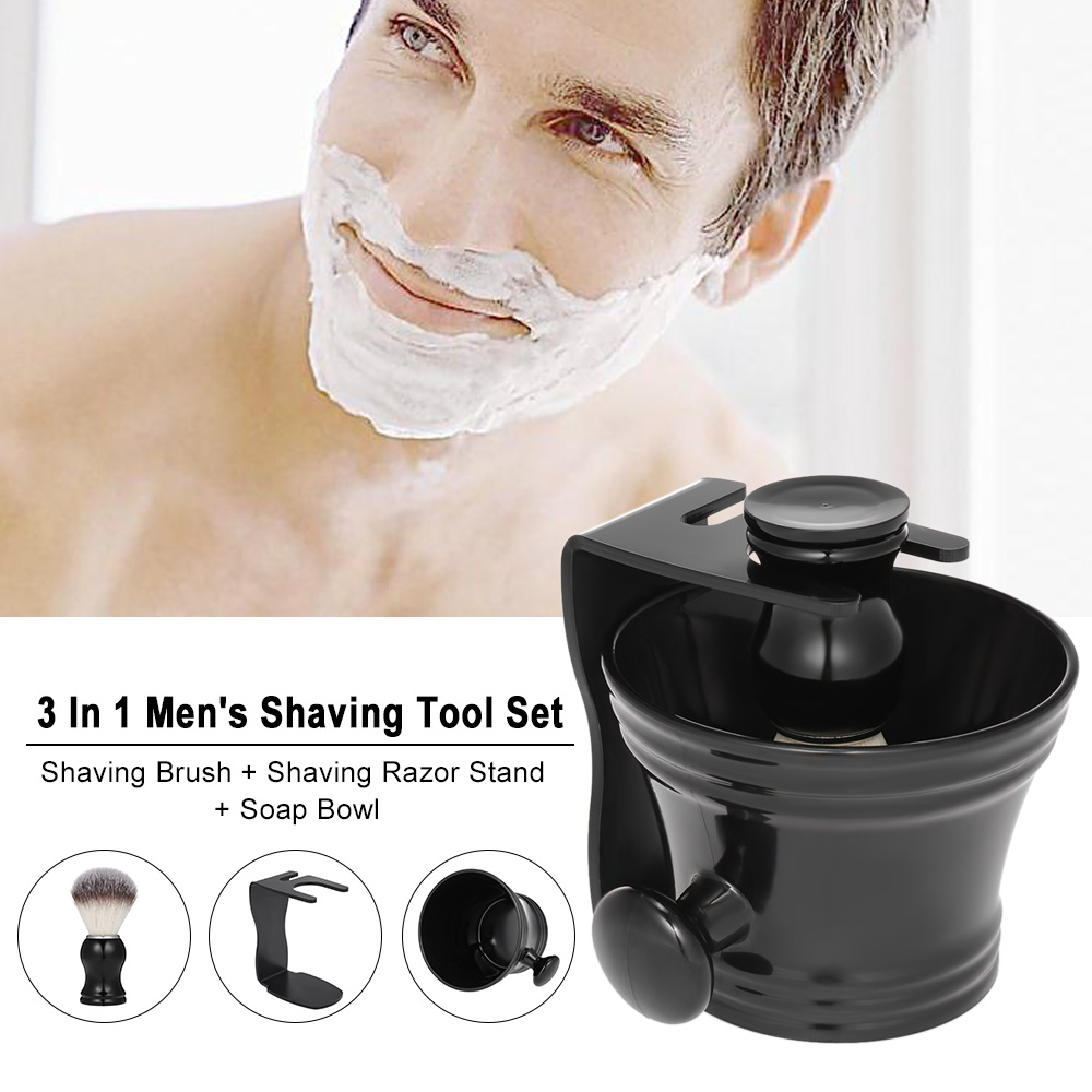 3 In 1 Men's Shaving Tool Set Shaving Brush + Shaving Razor Stand + Soap Bowl Male Facial Cleaning Tools Beard Shaving Kit