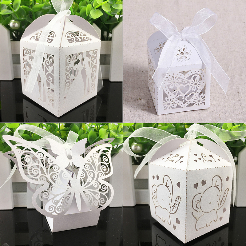 10pcs Laser Cut Hollow Cute Carriage Favors Box Gifts Candy Boxes With Ribbon Baby Shower Wedding Birthday Event Party Supplies