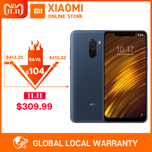 "Global Version Xiaomi POCOPHONE F1 6GB 128GB POCO F1 Snapdragon 845 6.18"" Full Screen 20MP Front Camera LiquidCool Smartphone"
