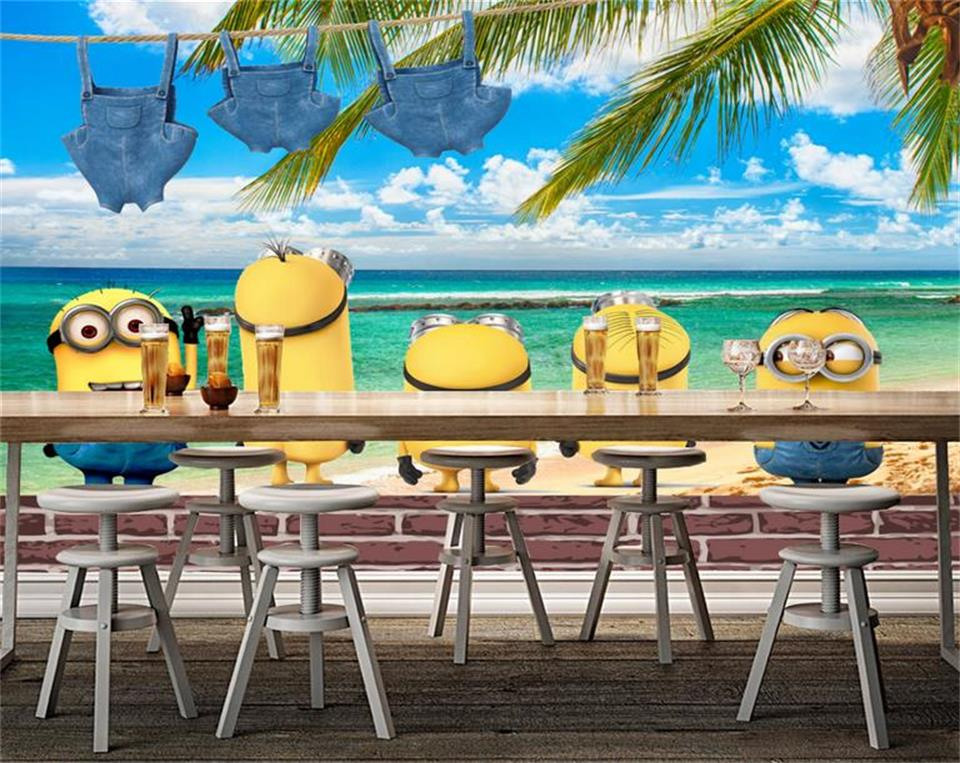3d photo wallpaper custom szie mural kids room cartoon Minions beach painting sofa TV background non-woven wallpaper for wall 3d
