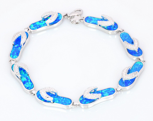 b167cf2f78b09e Wholesale   Retail Fashion Fine Blue Fire Opal flip flops Bracelet Sliver  Jewelry party gifts For