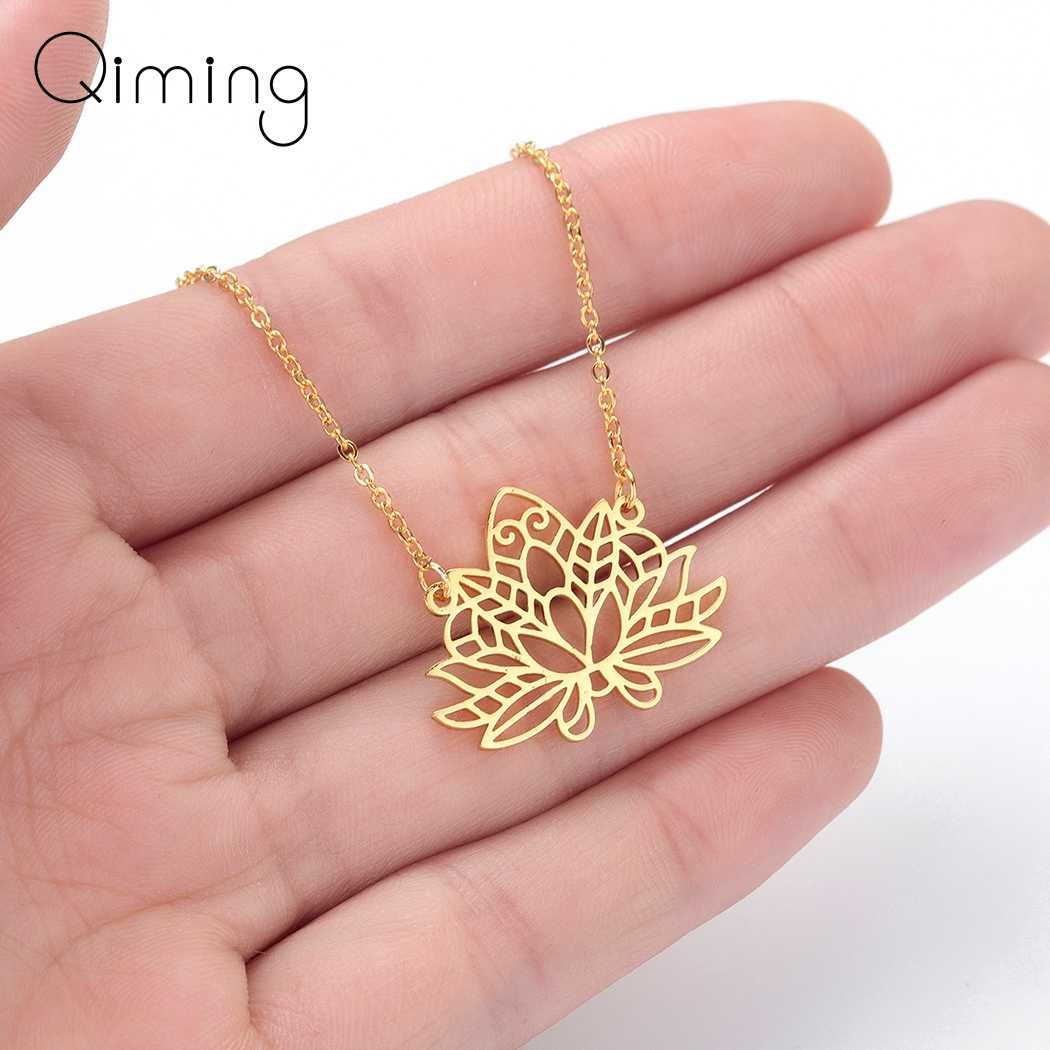 Hollow Lotus Flower Necklace Chokers Female Women Ethnic Jewelry Layering Bohemia Necklace Fashion Jewelry Accessories