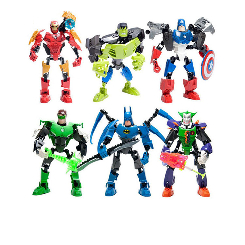 Single Sale Super Hero Batman Hulk Iron Man Joker Captain American Action Assembly Figure Educational Toys for Kids 2017 new avengers super hero iron man hulk toys with led light pvc action figure model toys kids halloween gift