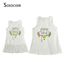 SOSOCOER Matching Mother Daughter Dresses Tassel Mom Daughter Dress Family Look Outfits 2018 Summer Letter Mommy And Me Clothes