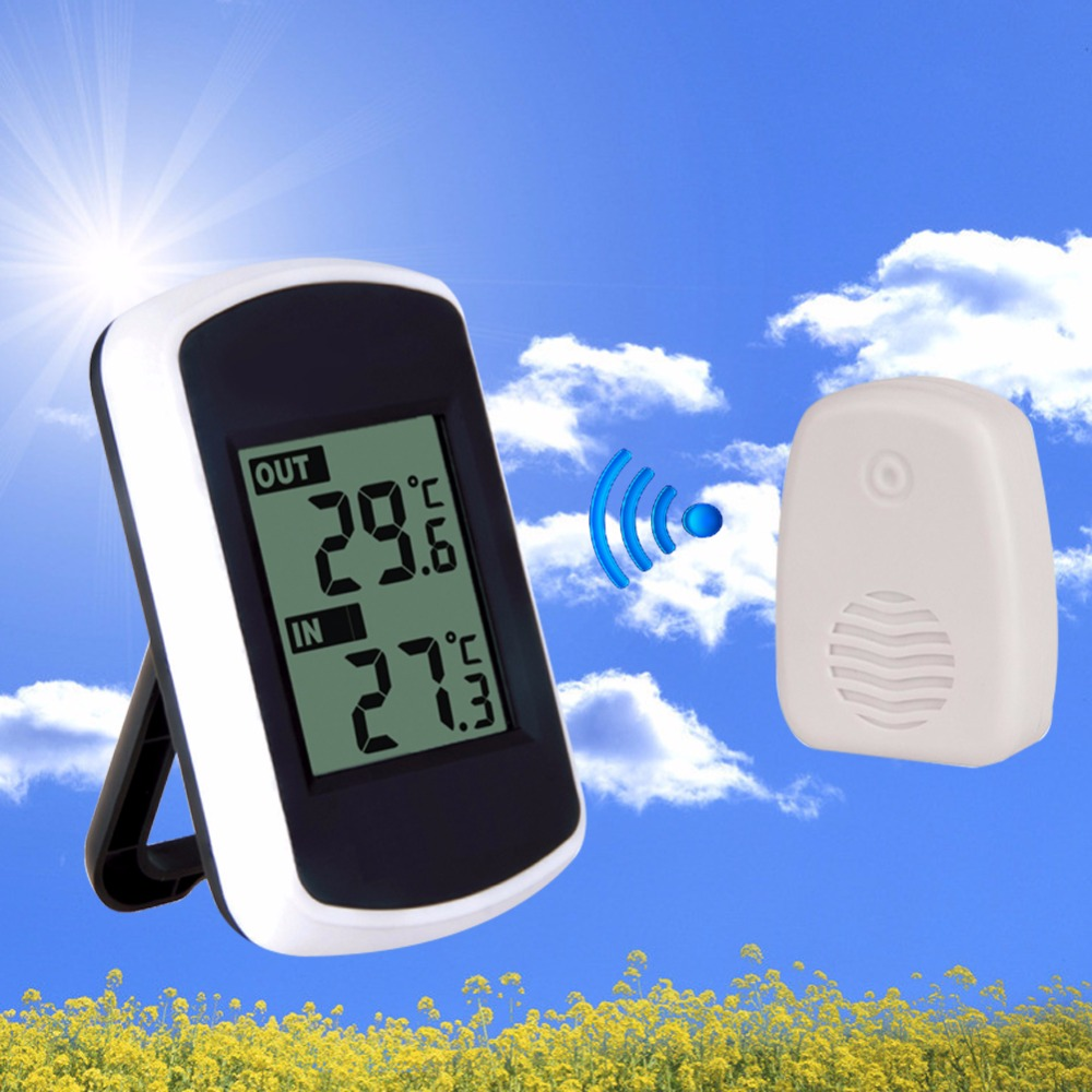 Ambiente caldo-vendita 433 MHz LCD Digital Wireless Stazione Meteo Wireless Gamma di Trasmissione 120 piedi Termometro Esterno Dell'interno