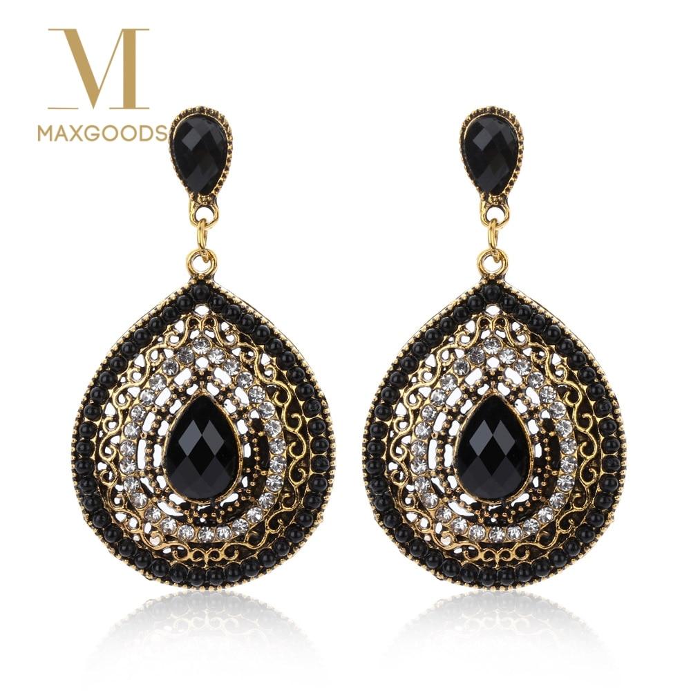 1 Pair Vintage Drop Earrings For Women Ethnic Resin Multicolor Bead Large Bohemia Dangle Earrings Statement Jewelry