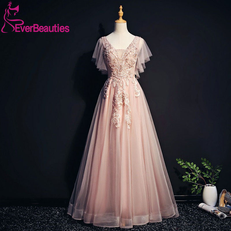 Evening     Dresses   Long 2019 V Neck Appliques Beaded Tulle Party Gowns   Evening   Gowns Robe De Soiree Vestidos De Fiesta Noche
