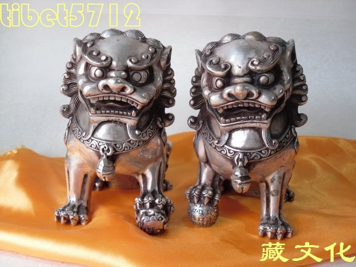 13 cm tall CHINA COLLECTIBLES ANTIQUE IMITATION coated silver pair foo dog lion statue wedding copper Decoration real Brass
