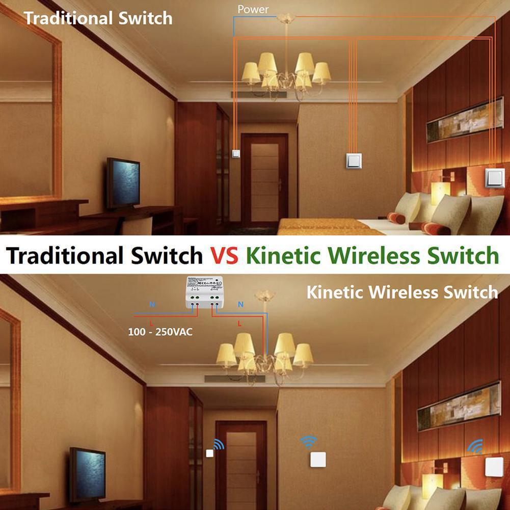 2 IN 1 AC 110 250V Smart RF Intelligent Kinetic Wireless Switch Self  generating Relay Receiver Double Sided Tape Screw Driver-in Smart Home  Control