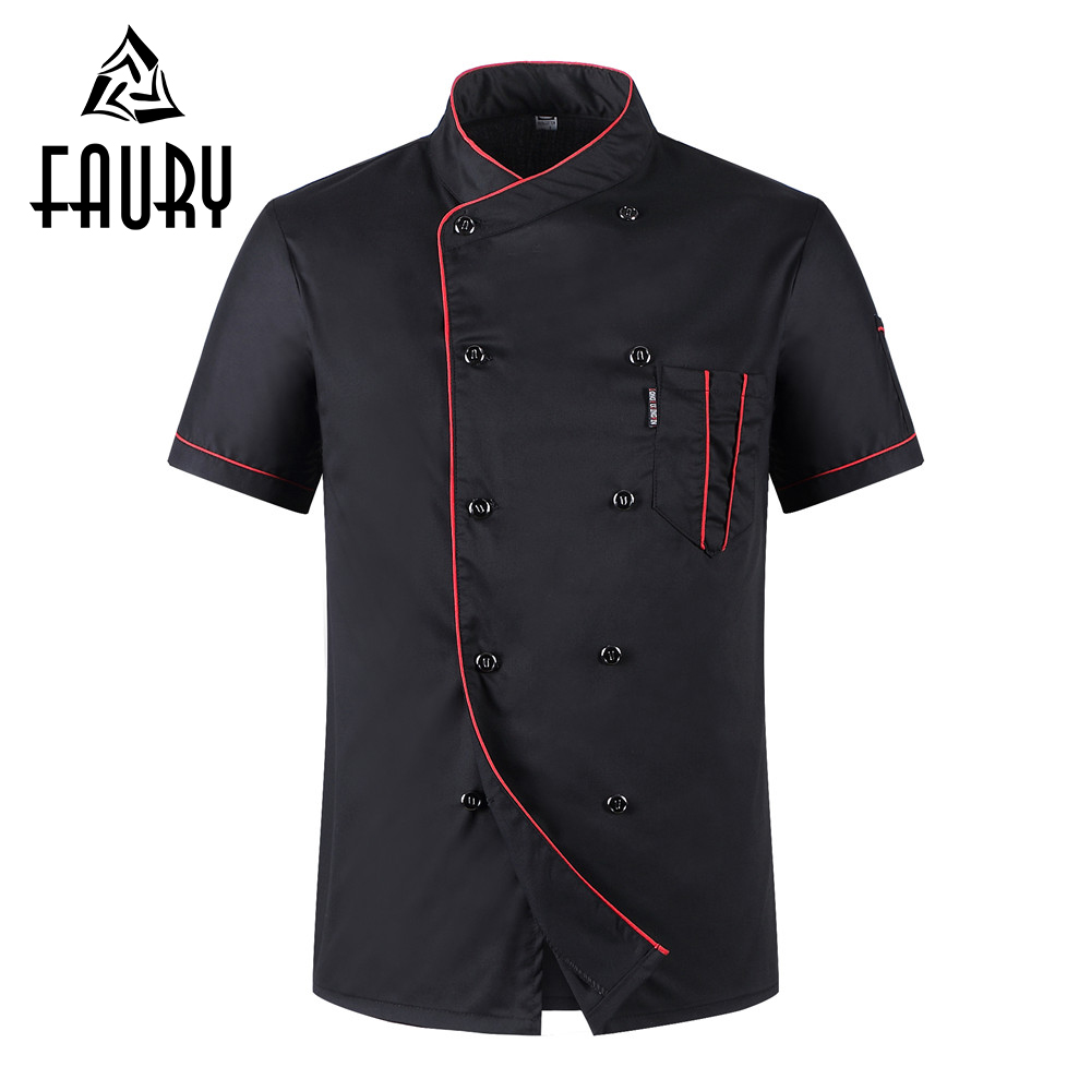 Unisex Casual Soft Chef Jackets Short Sleeve Oblique Collar Double Breasted Kitchen Catering Restaurant Food Serive Work Uniform image