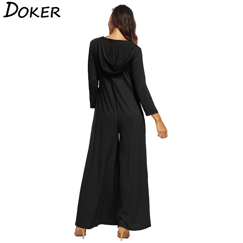 3dcb1ce12322 2018 New Deep V neck Hooded Rompers Womens Jumpsuit Casual Pocket 3 4  Sleeve Wide Leg Jumpsuit Female Loose Plus Size Overalls-in Jumpsuits from  Women s ...