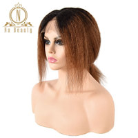 Brazilian 150% Remy Hair Kinky Straight 13x4 Lace Front Wigs 1B 30 Color Human Hair Short Ombre Wigs Preplucked Wig for Women