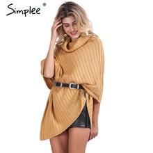 Pletený volný dámský svetr s páskem v pase
