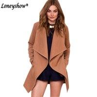 Brown winter coat Women turndown long coat collar overcoat female Casual autumn 2017 Elegant Solid Color Brief Wool outerwear