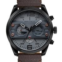 MINIFOCUS Chronograph Men's Casual Sport Quartz Watch Mens Watches Top Brand Luxury Leather Military Watch Wrist Male Clock