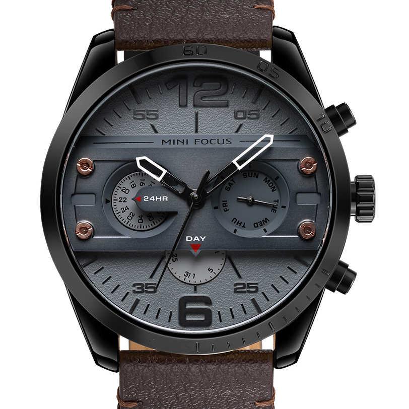 MINIFOCUS chronographe hommes Sport décontracté montre à Quartz hommes montres haut de gamme en cuir de luxe montre militaire poignet mâle horloge