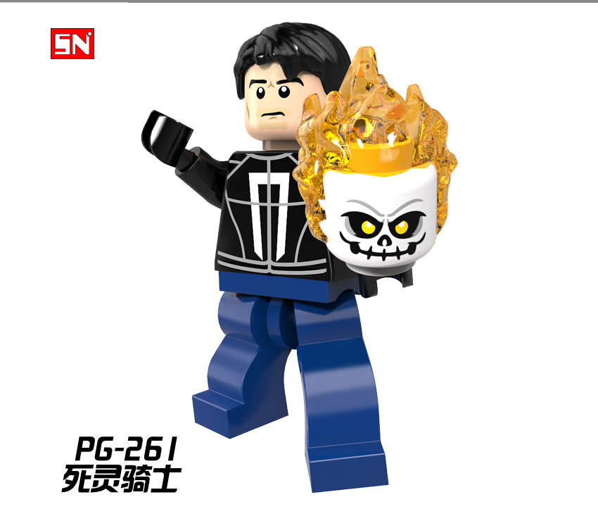 Ghost Rider With Motorcycle Building Blocks Super Heroes Minifigure Bricks Toy