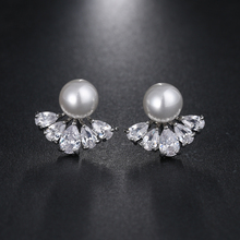 Fashion Elegant Women Imitation Pearl Stud Earrings With AAA Cubic Zircon Shining Studs Ear Indian Jewelry brincos AE457